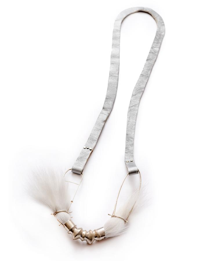 Necklace / materials: oxidized sterling silver, leather, horsehair