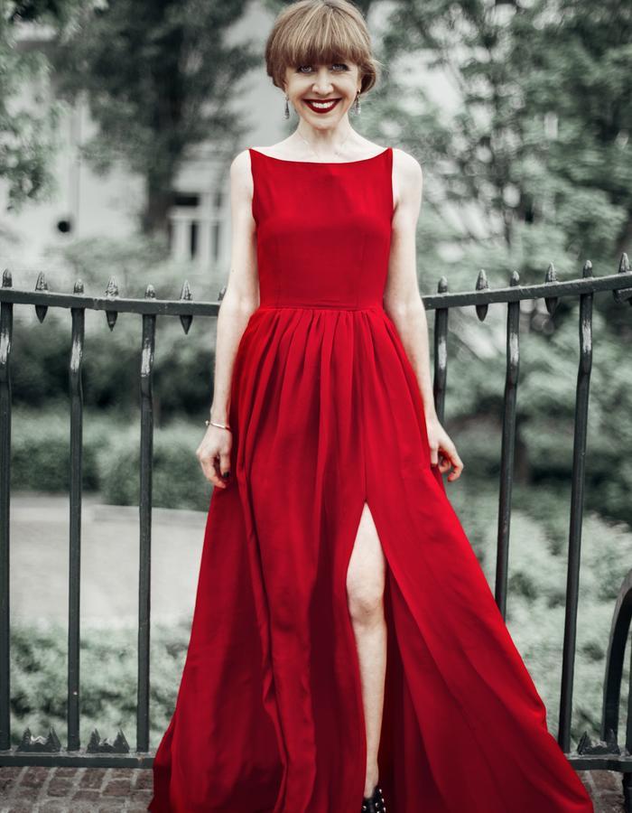 luxury red dress