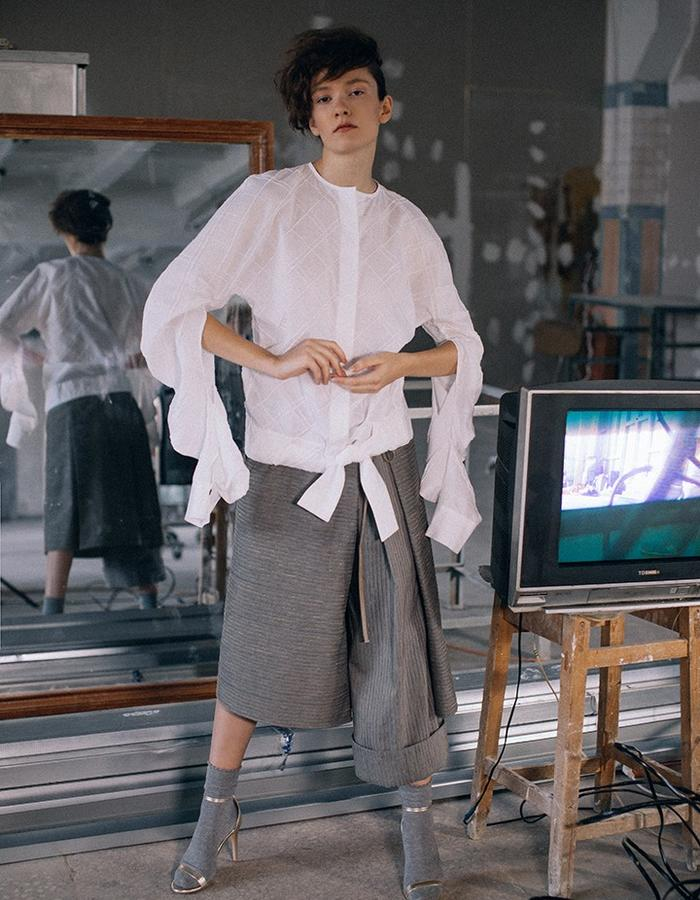 White cotton transformer – shirt with long  complex cut  sleeves &Complex cut skirt- trousers