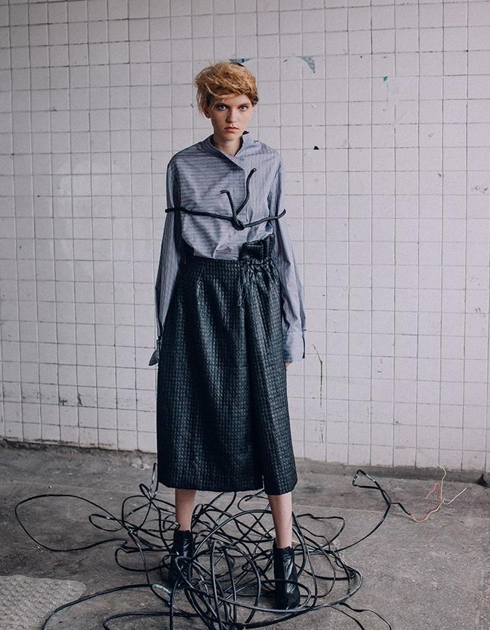 Cotton Shirt with asymmetrical stripes , long sleeves and complex cut cuffs&black asymmetric skirt made of unusual textures fabrics with a hidden incision