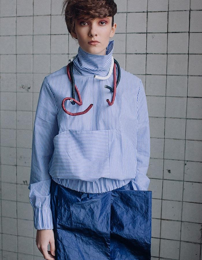 Striped cotton  bomber - shirt with asymmetric details&Futuristic complex cut skirt  with the element bow made from innovative breathable material (waterproof paper prototype)
