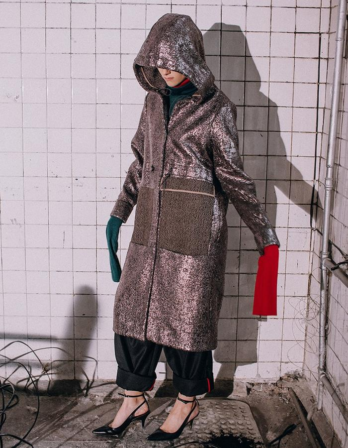 Wool Parka-coat with metal coating