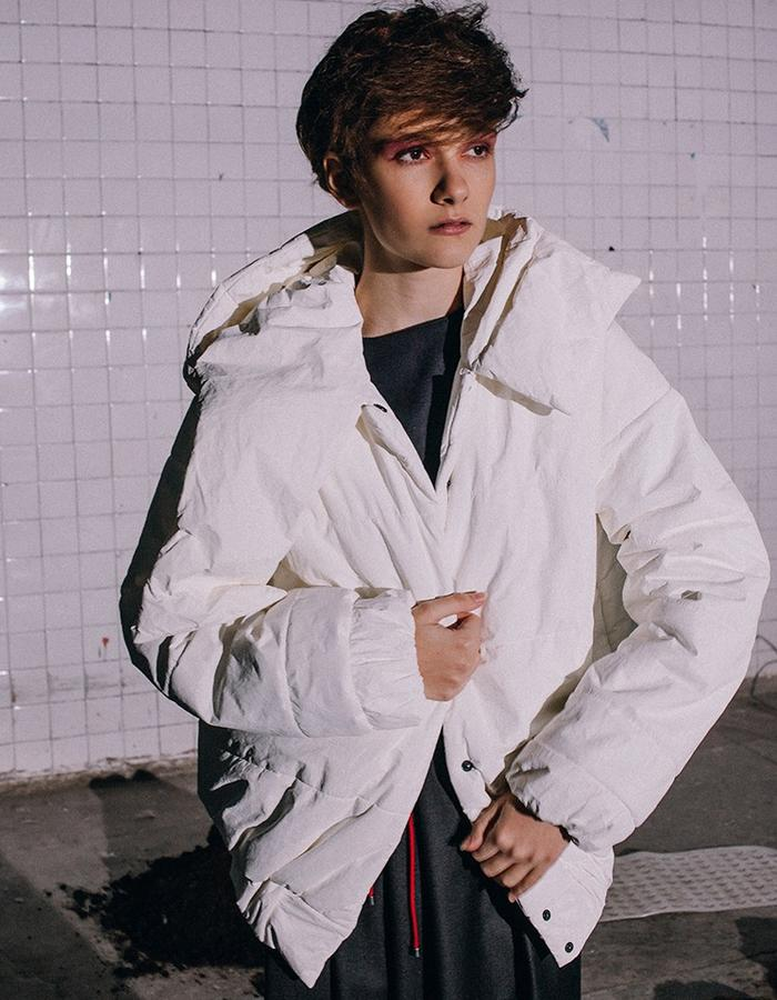 cropped jacket with a hood  made of innovative waterproof material ( paper prototype)