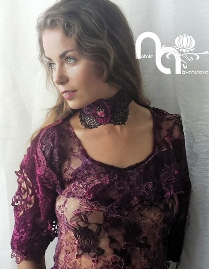 Choker & bolero from manually perforated fabric. Designed & handmade by Natalia Alexandrova.