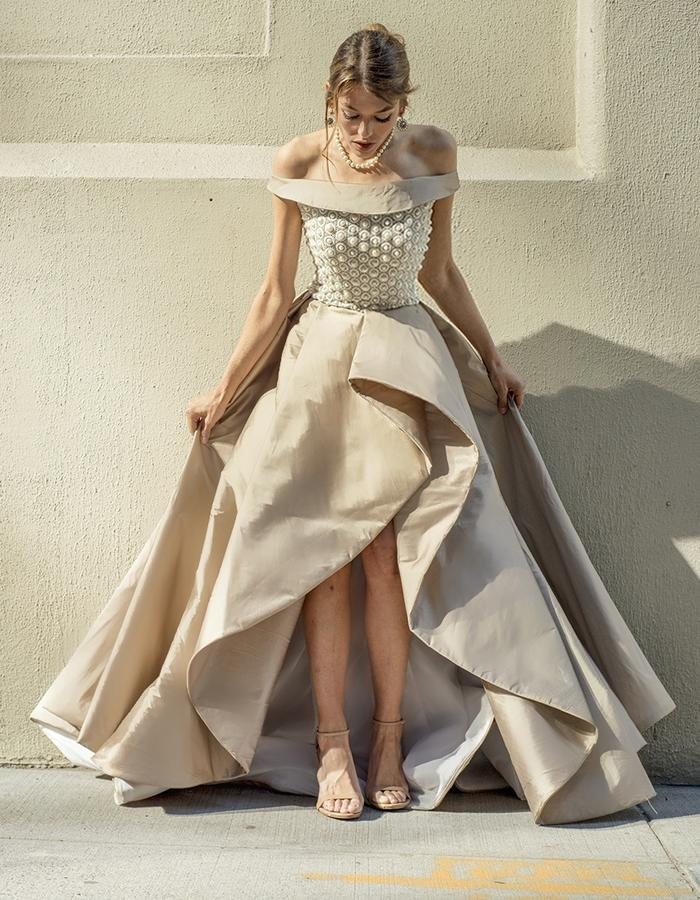 Royal gold dress with a ivory guipure fully beaded corsage with pearls, and a structured taffeta high low skirt.