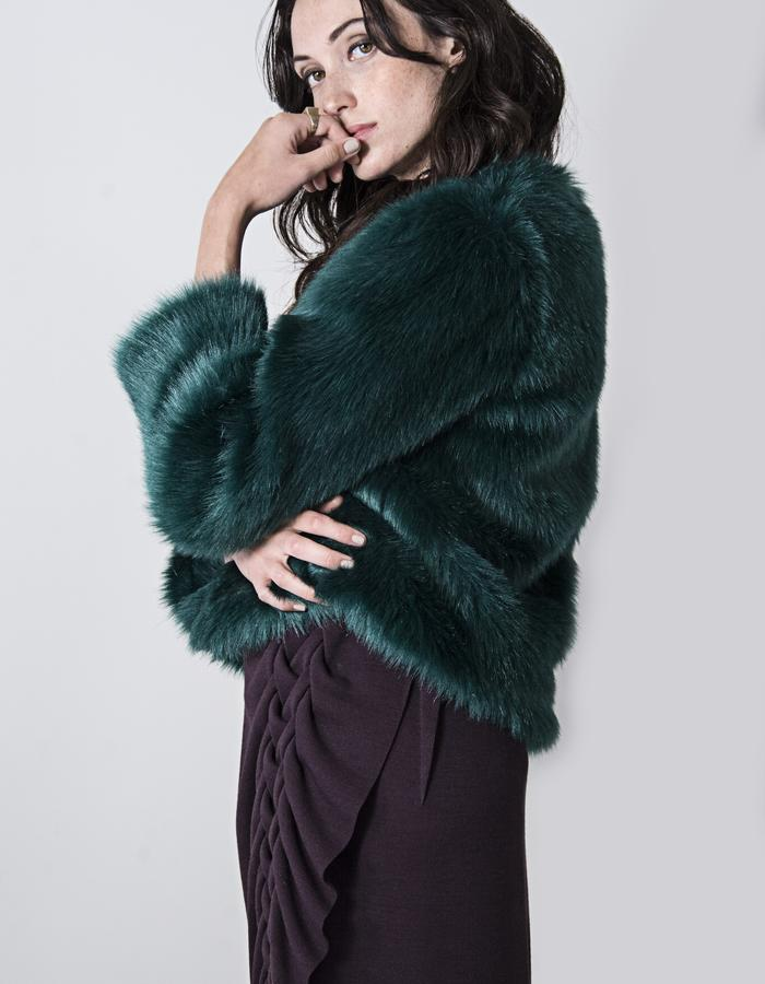 Antonia Teal Faux Fur Coat