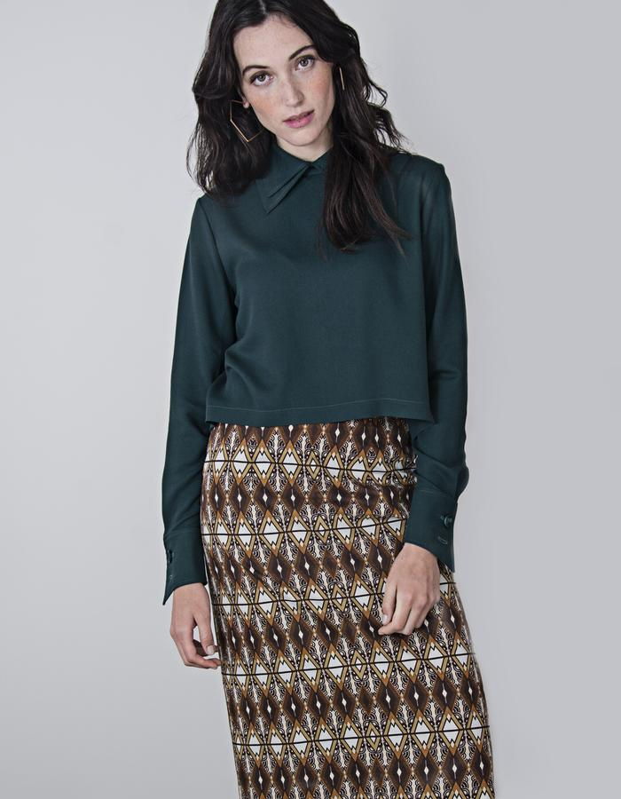 Tony Double Collar top and Lilia Pencil Skirt