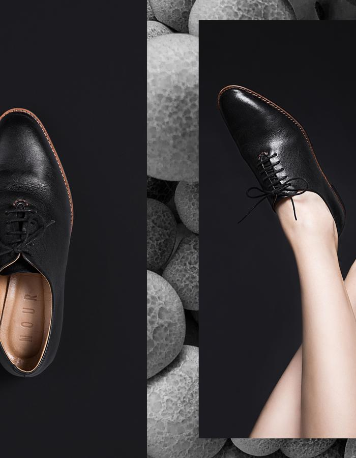 NOUR classic, leather oxford, truffle