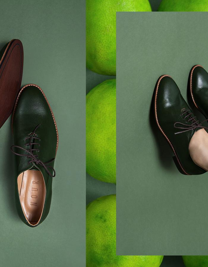 NOUR classic, leather oxford, avocado