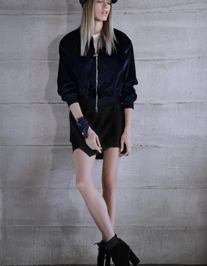 MIRO short bomber, skirt, cap, scarf