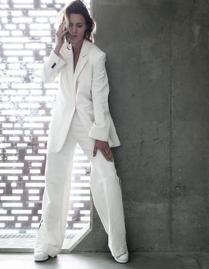 white linen suit with black details