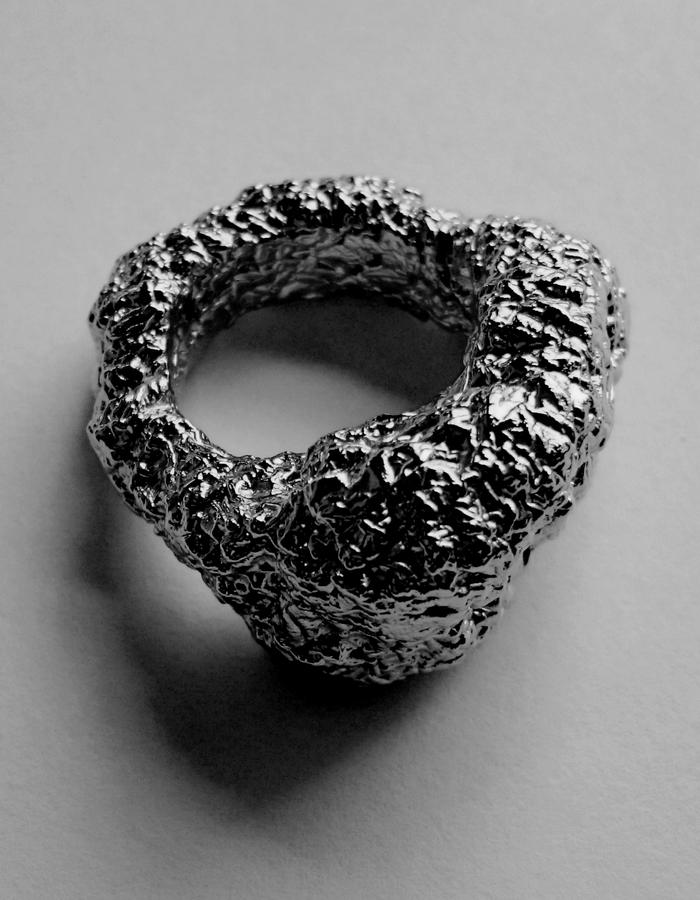 Black Rhodium and Sterling Silver Ring