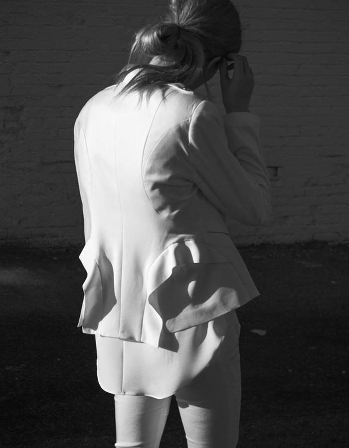 ATELIERI flounce back jacket in cream