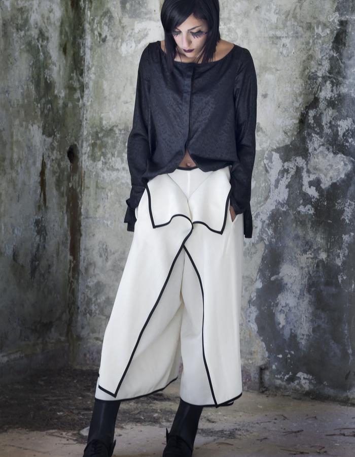black silk embossed chiffon shirt/ thin wool overlap pants