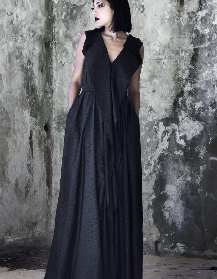long backless V neck silk embossed chiffon dress
