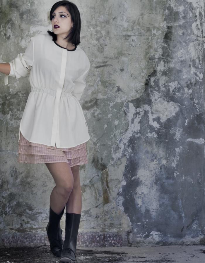 short off white thin wool dress with pink silk organza hem