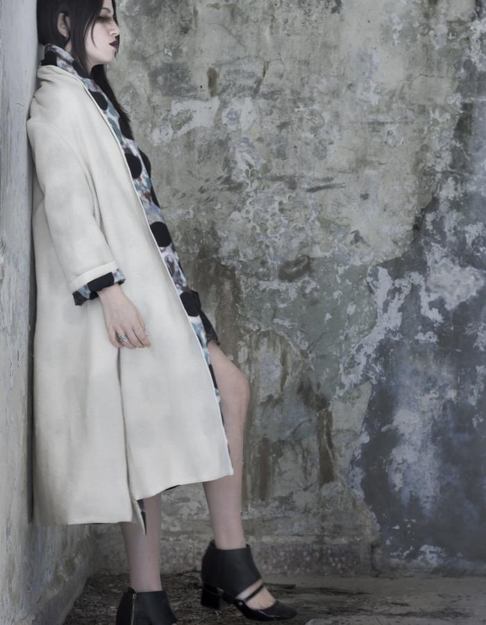 large off white wool coat with polka dot cotton lining