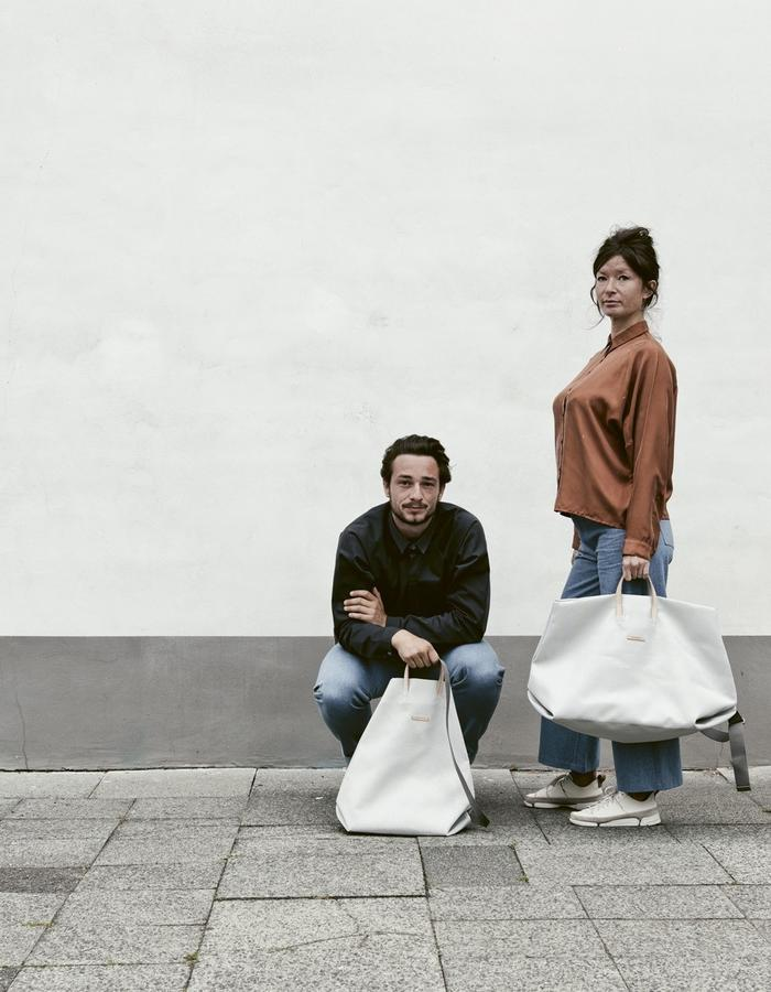 light grey mesh weekender  and shopper