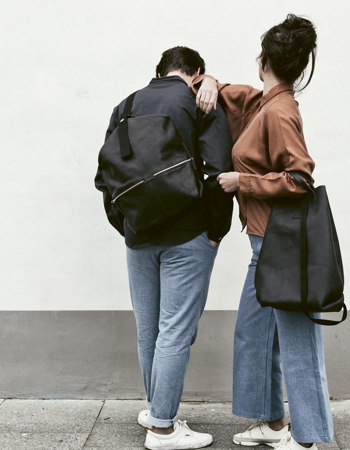 black vegetable tanned leather shopper and LUCID bag