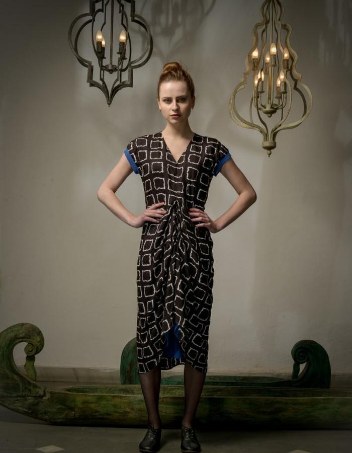 Shibori dress in silk-viscose