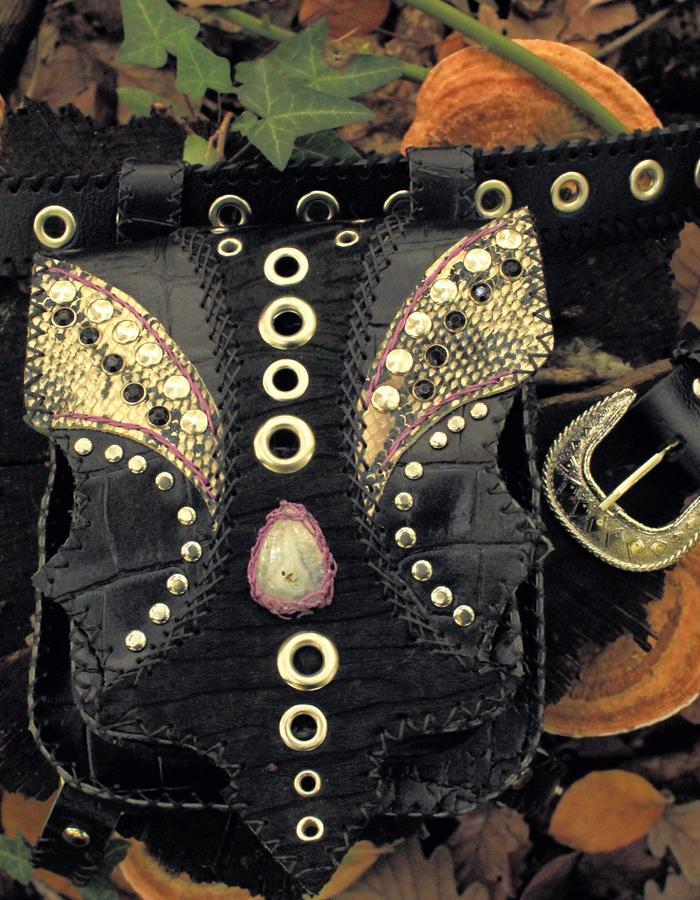 ☾LUNA☽ Leather Bag with two pockets & Calcide Stone in the center. Fur and snakeskin meet in the center with black stone rivets. #leather #gemstone #Luna #bag #festival