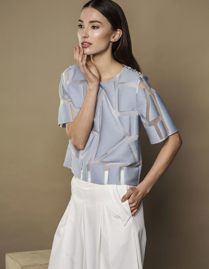 ICY BLUE TRANSPARENT TOP AND WHITE WINTER CULOTTES