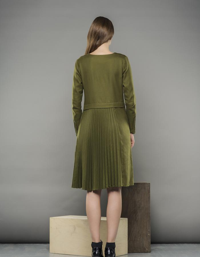 MOSS GREEN PLEATED DRESS