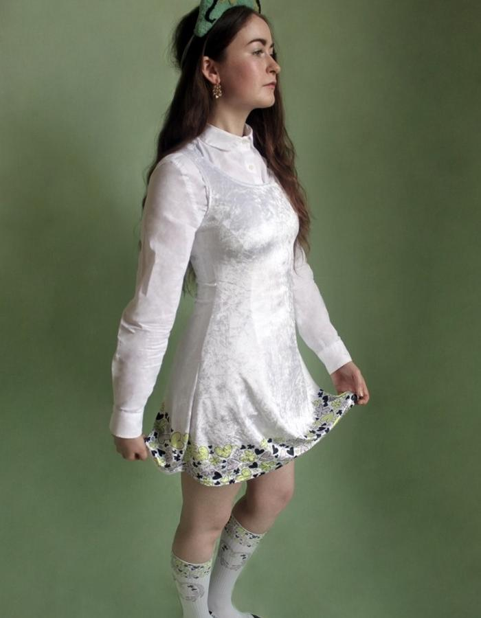 Woman's Ivory Printed Heart + Clover Stretch Velour Dress