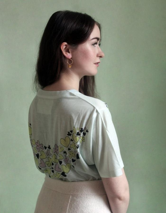 Woman's Jade and Multi Coulour Heart + Clover Garland Shirt