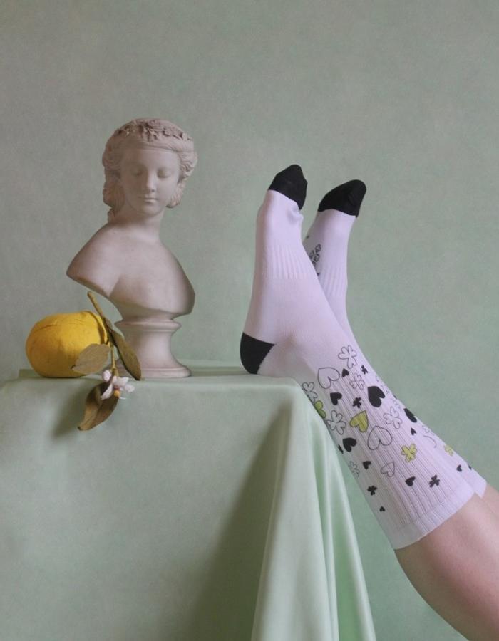 Woman's White + Black + Clover + Heart Socks