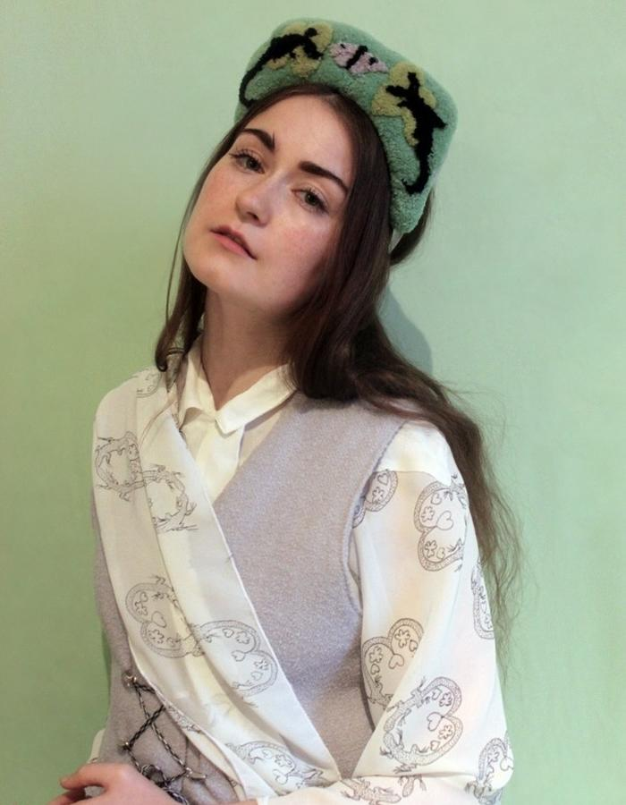 Hand drawn Print Blouse, Boucle Wool Jumpsuit, + Hand Embroidered Crown Hat