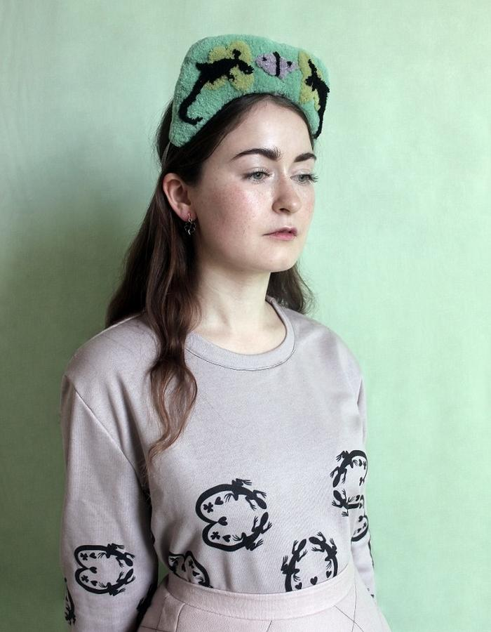 Woman's Pink Printed Heart Shaped Salamander Sweater