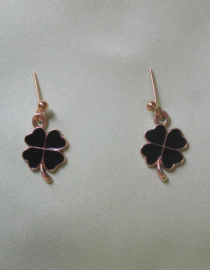 Black and gold enamel clover drop earrings