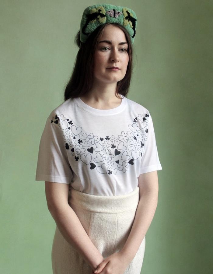 Woman's White + Black Heart + Clover Garland Shirt