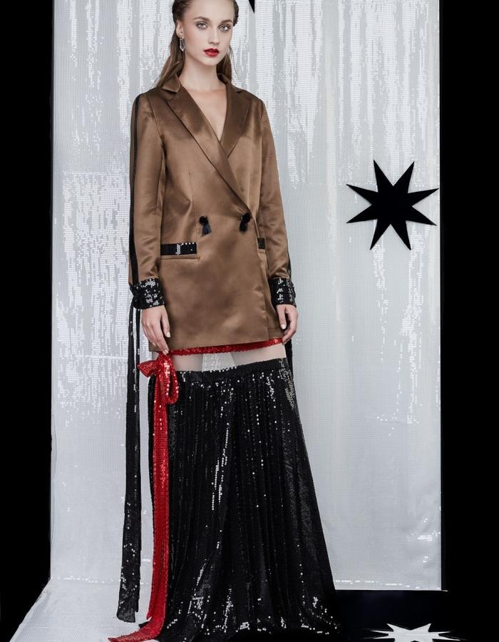 Silk jacket and sequin skirt