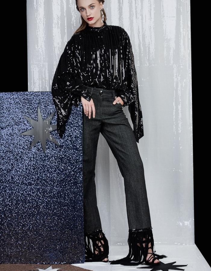 Sequin shirt and jeans