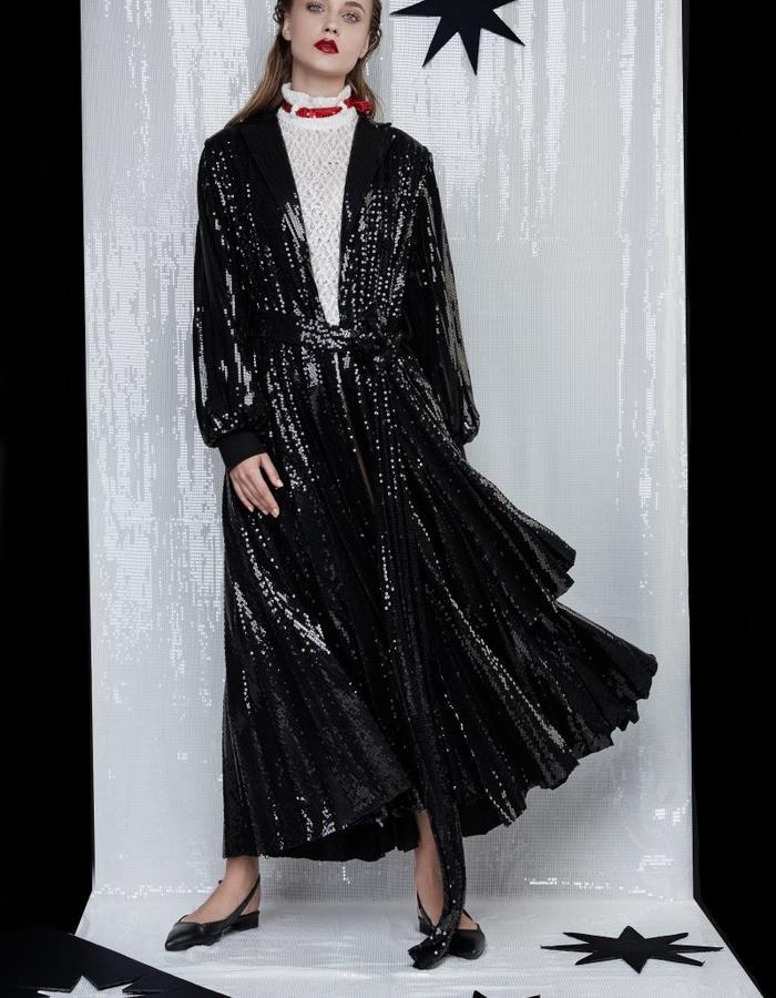 Sequin pleated coat