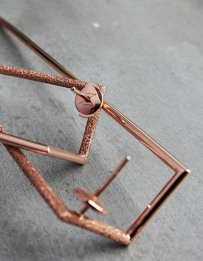 Handmade pair of earrings inspired by NYC Skyscrapers shapes. In 14K Rose Gold Limited Edition.
