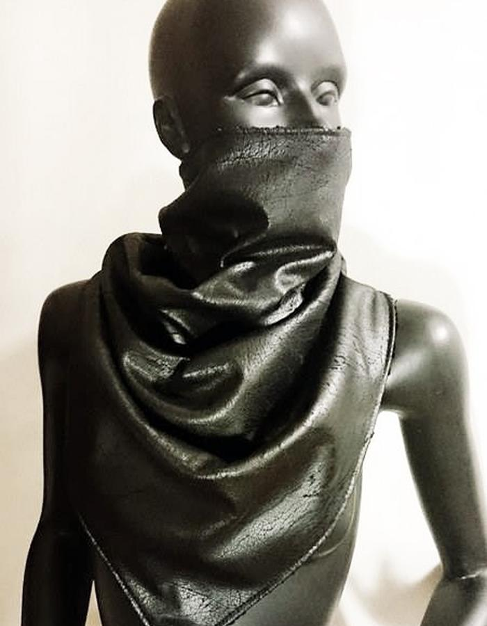 Aged PU leather SCARF