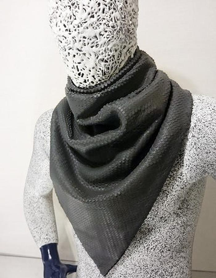 Laser-cut leather scarf