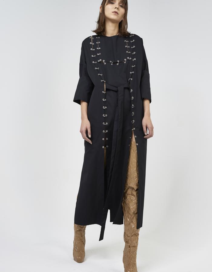Black long apron piercing dress by Boyarovskaya made in Paris of 100% cotton