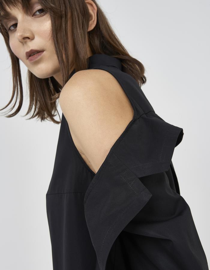 Black deconstructed off shoulder shirt/dress by Boyarovskaya made in Paris of 100% cotton