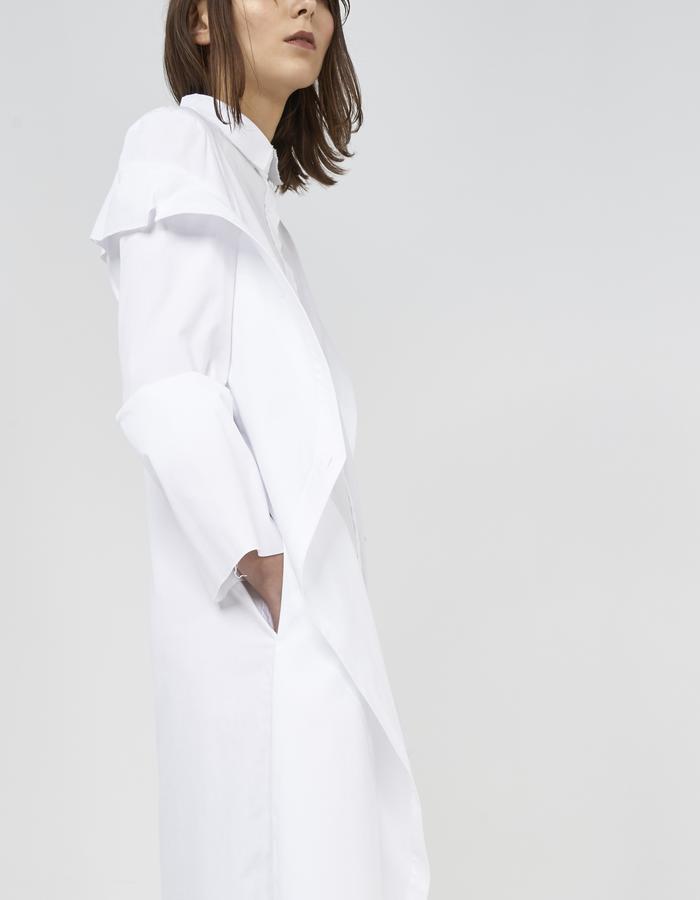 White deconstructed off shoulder shirt/dress by Boyarovskaya made in Paris of 100% cotton