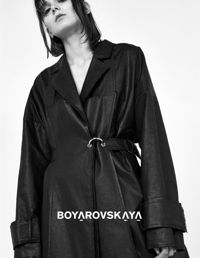 Black long apron coat by Boyarovskaya made in Paris