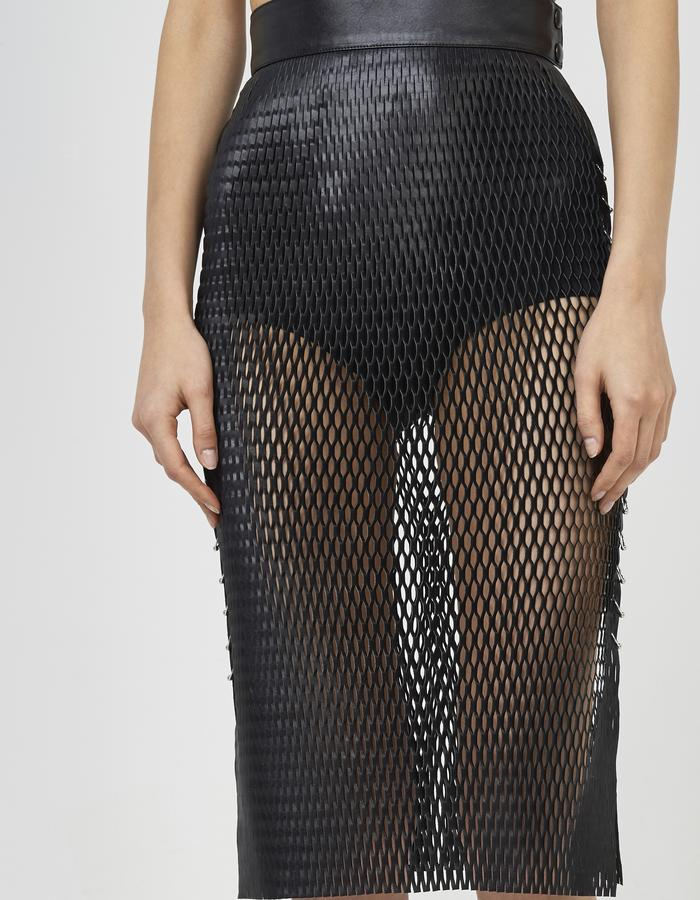 Black leather mesh skirt with piercing by Boyarovskaya made in Paris of 100% lamb leather