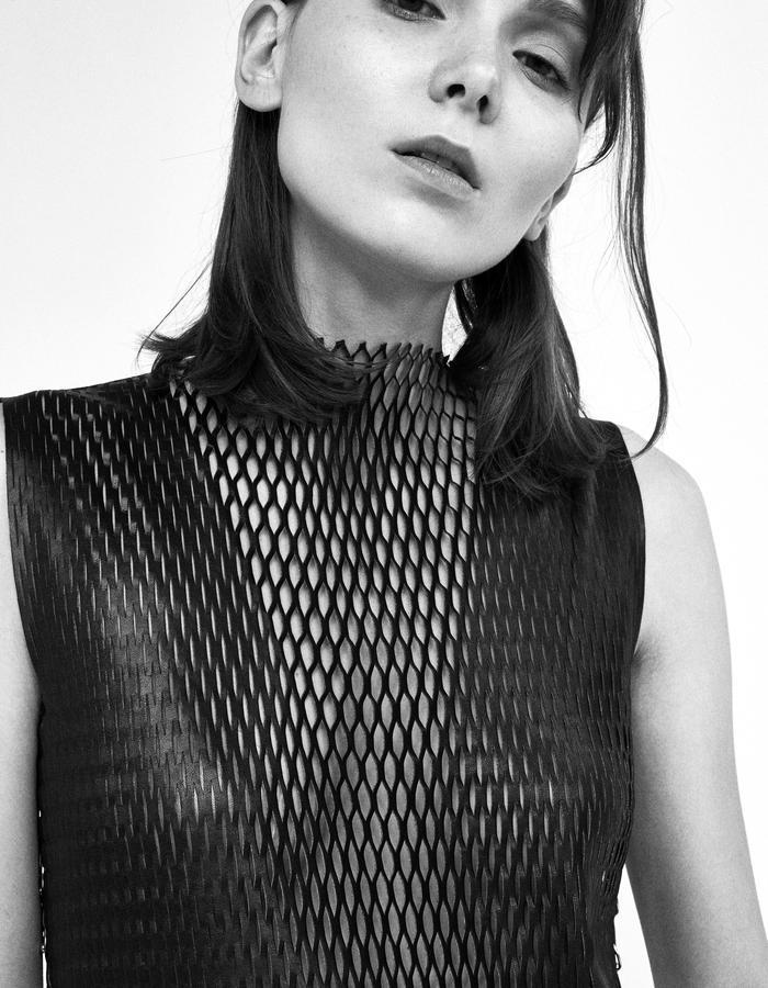 Black leather mesh dress with piercing by Boyarovskaya made in Paris of 100% lamb leather