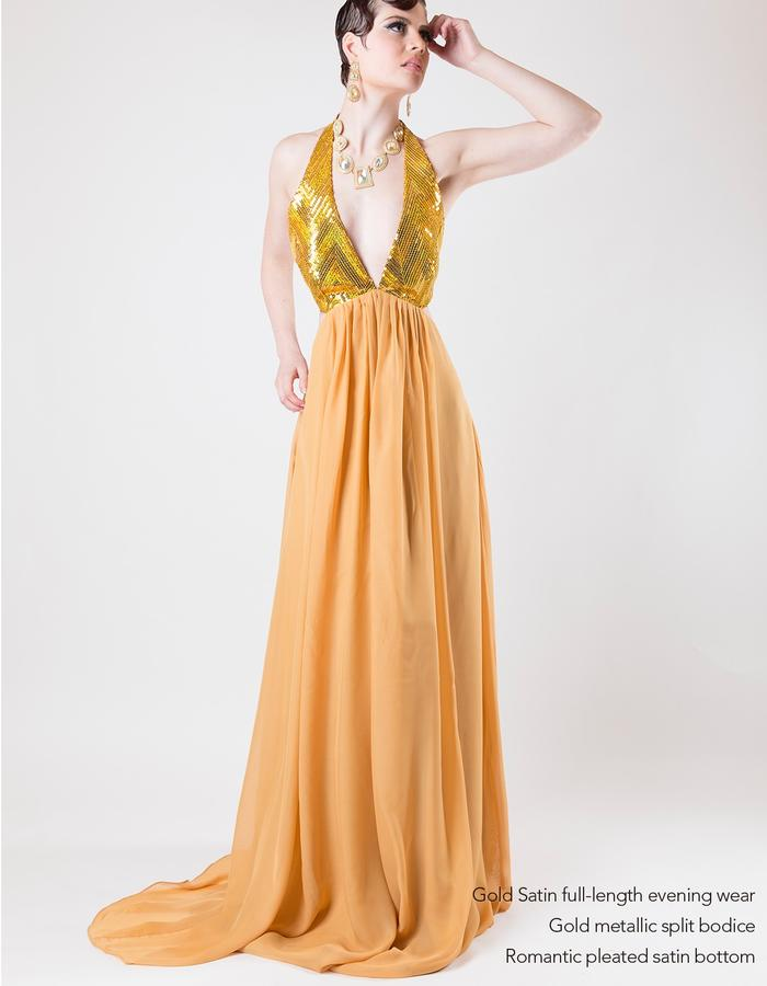 gold, sequence, satin, halterneck, low cut, red carpet gown, evening