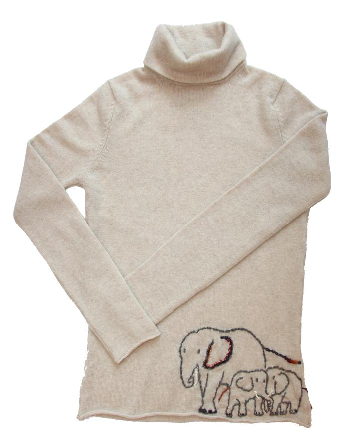 1 Ply Cashmere Turtle Neck Sweater with Hand Embroidered Elephants