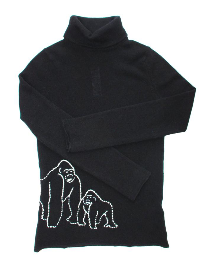 1 Ply Cashmere Turtle Neck Sweater with Hand Embroidered Gorilla
