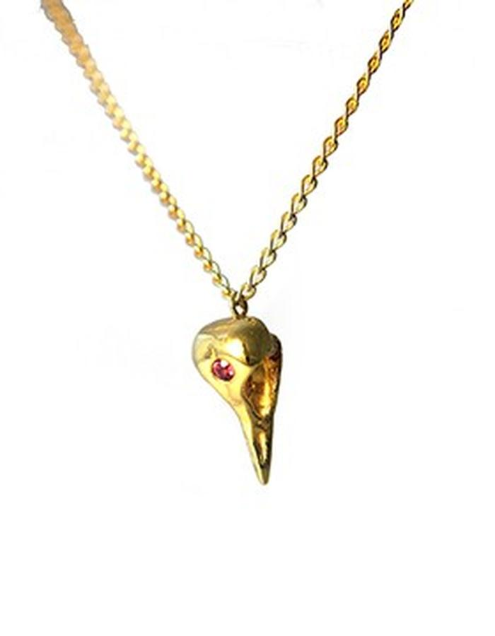 Raven Skull Pendant in Yellow Gold with Rhodolite Garnet